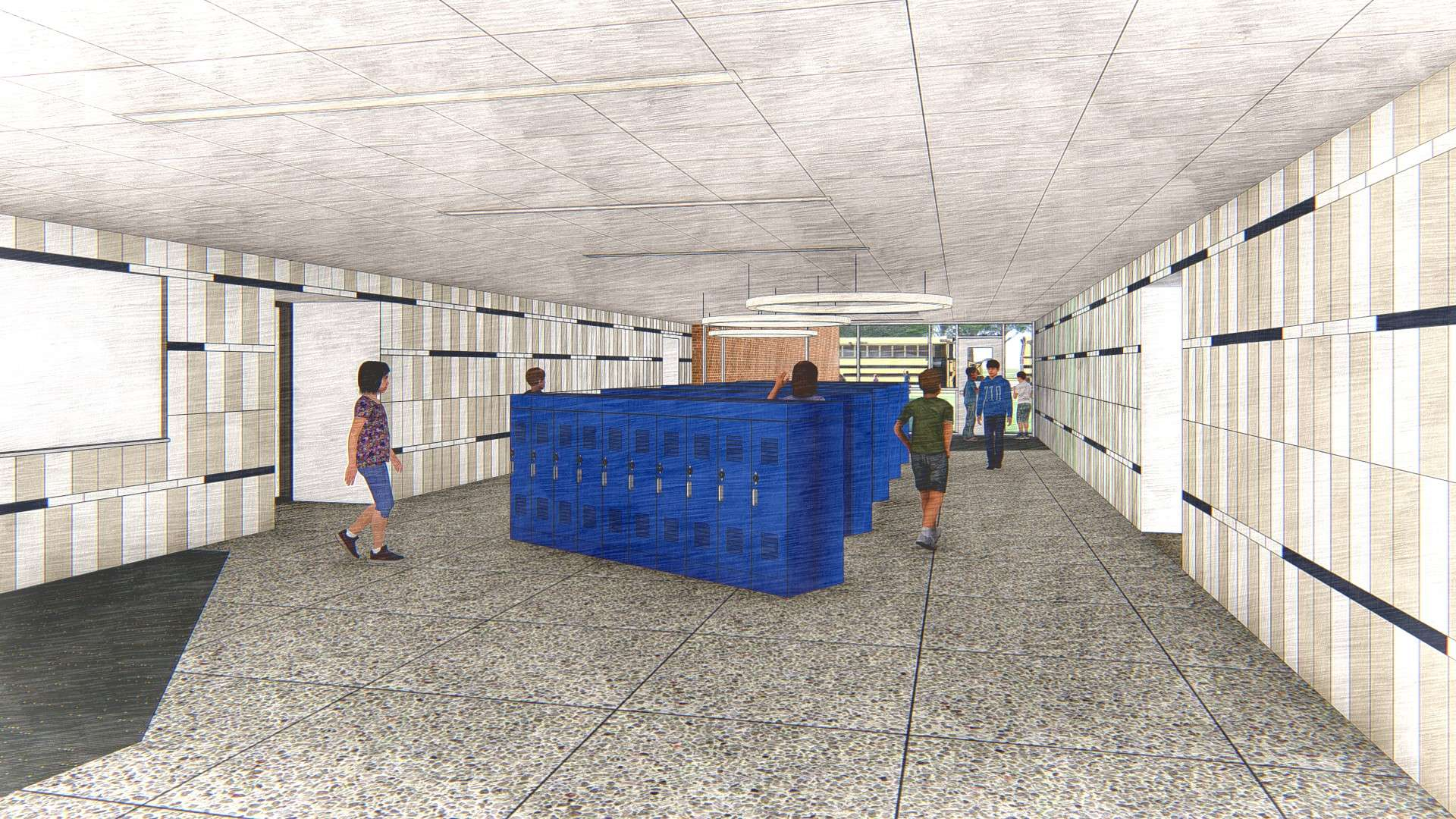 Middle School Interior Perspective Sketch
